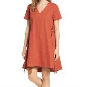Halogen Side Tie Poplin Trapeze Brick Red Dress